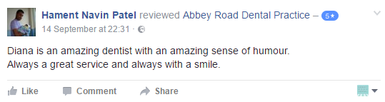 Facebook review of Abbey road dental practice
